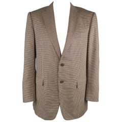 ERMENEGILDO ZEGNA 44 Long Tan Nailhead Silk / Cashmere Notch Lapel Sport Coat