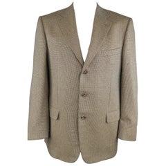 ERMENEGILDO ZEGNA 44 Tan Woven Silk / Wool Nailhead Sport Coat
