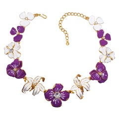 KJL Kenneth Jay Lane Flower Necklace Purple White Enamel Faux Pearl & Crystals