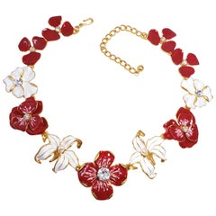 KJL Kenneth Jay Lane Flower Necklace Red White Enamel Faux Pearl & Crystals