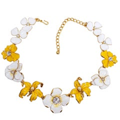 KJL Kenneth Jay Lane Flower Necklace Yellow White Enamel Faux Pearl & Crystals
