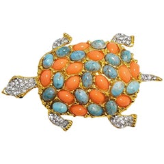 KJL Kenneth Jay Lane Pave Cabochon & Crystal Turtle Brooch Pin in Gold