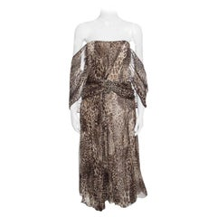 Blumarine Animal Printed Embellished Draped Silk Dress M