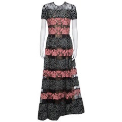 Elie Saab Black and Salmon Pink Paneled Floral Embroidered Tulle Gown S