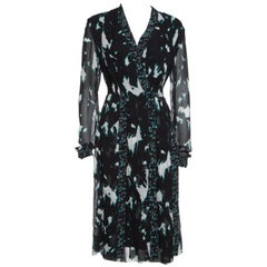 Proenza Schouler Black Printed Silk Pleated Long Sleeve Dress S