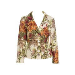 Dolce and Gabbana Cream Floral Printed Silk Knit Blazer M