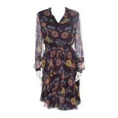 Chanel Brown Printed Silk Ruffled Tie Detail Long Sleeve Dress L