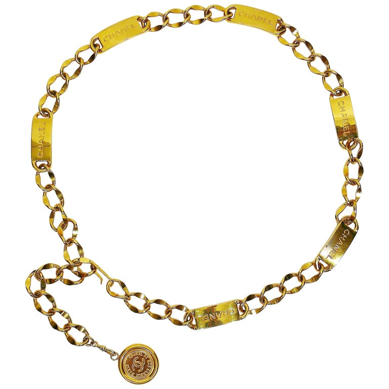 Chanel Vintage Gold Toned Signature ID Plate Chain Belt Necklace For Sale