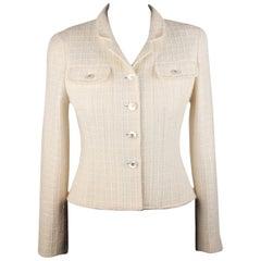 Chanel Vintage Ivory Bouclé Tweed Blazer Jacket 97P Size 38