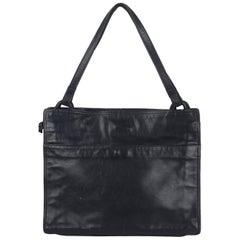 Bottega Veneta Vintage Navy Blue Leather Tote Shoulder Bag
