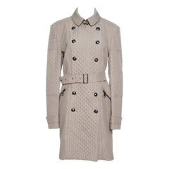 Burberry London Beige Diamond Quilted Belted Long Trench Coat L