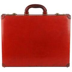 Gucci Vintage Red Leather Hard Side Briefcase Work Bag