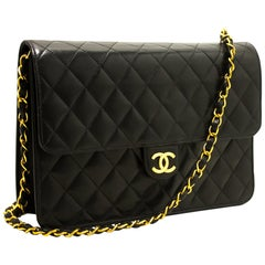 CHANEL Chain Shoulder Bag Black Clutch Flap Quilted Lambskin