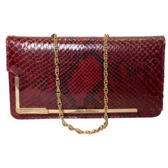 Vintage Red Snakeskin Handbag with chain handle