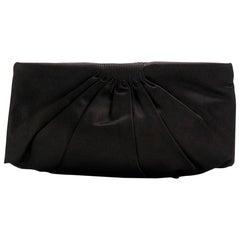 Chanel Black Satin Clutch Bag