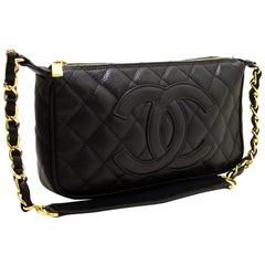 CHANEL Caviar Mini Small Chain One Shoulder Bag Black Quilted