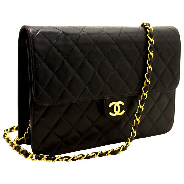 d49271f08df6 CHANEL Chain Shoulder Bag Black Clutch Flap Quilted Lambskin For Sale