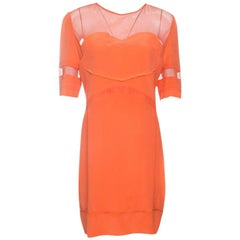 Victoria Victoria Beckham Orange Silk Mesh Insert Paneled Dress M