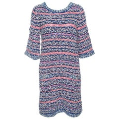 Chanel Multicolor Textured Knit Short Sleeve Dress M