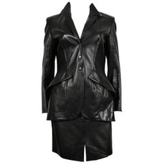 Thierry Mugler Couture Vintage Black Lambskin Leather Skirt Suit