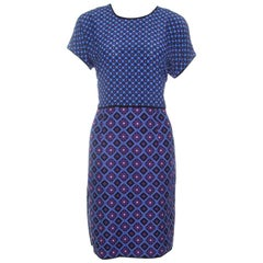 Victoria Victoria Beckham Purple and Blue Diamond Pattern Silk and Jacquard Dres