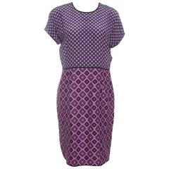 Victoria Victoria Beckham Purple Diamond Pattern Silk and Jacquard Dress M