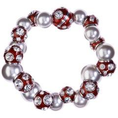 Simon Harrison Valent Pearl And Crystal Set Red Enamel Bead Bracelet