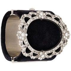 2015s black velvet crystals Chanel cuff bracelet