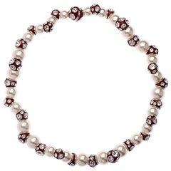 Simon Harrison Valent Pearl And Crystal Set Red Enamel Bead Necklace