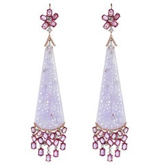 Lorraine Schwartz Large Pink Gemstone And Diamond Earrings