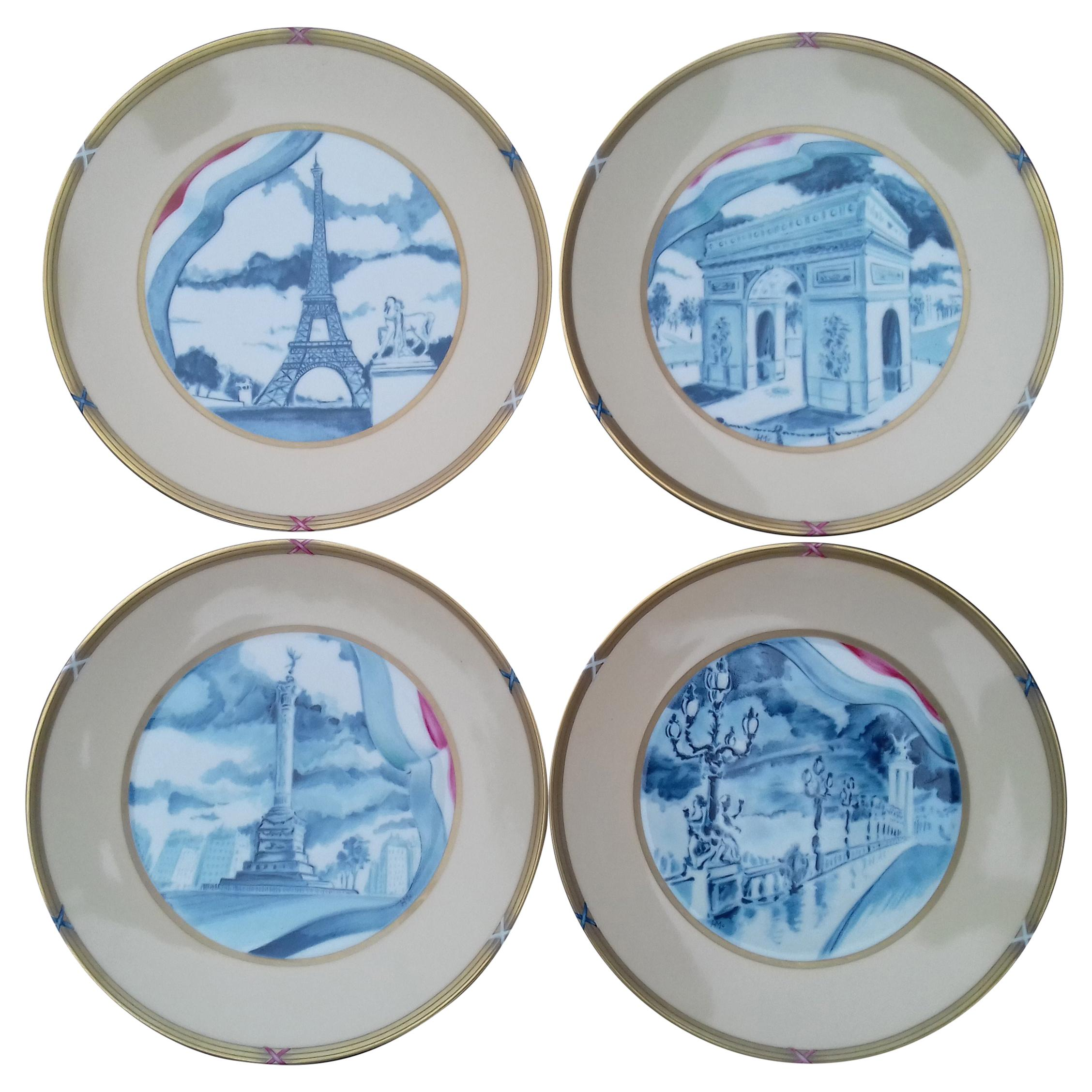 Hermès Exceptional Set of 4 Plates Souvenir De Paris French Revolution RARE