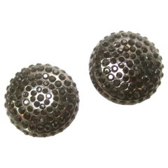 Chanel Black Crystal Large Button Clip On Earrings circa 1990s