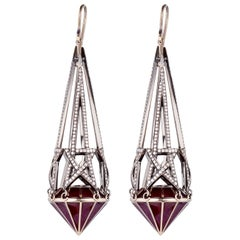 Solange Azagury-Partridge Shooting Star White Gold Pave Diamond Drop Earrings