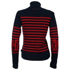 Jean Paul Gaultier Vintage Iconic Matelot Navy Blue Red Sweater US Size 8