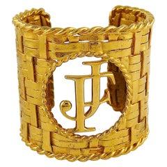 Vintage Couture Massive Gold Toned Woven Cuff Bracelet JF Monogram