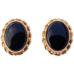 ZZ 14K Gold and Onyx Oval Stud Earrings with Gold Braided Edging