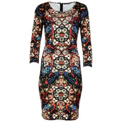 Alexander McQueen Long-Sleeve Stained Glass Print Dress Sz 42
