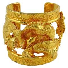 Leonard Paris Vintage Gold Toned Openwork Orchid Cuff Bracelet