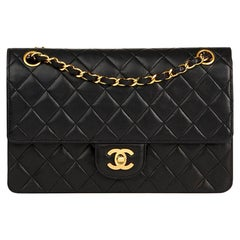 1992 Chanel Black Quilted Lambskin Vintage Medium Classic Double Flap Bag