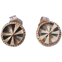 Beverly Hills Gold 14K Round Diamond Cut Stud Earrings