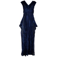 J. Mendel Navy Ruched Waist Sleeveless Gown Sz 10
