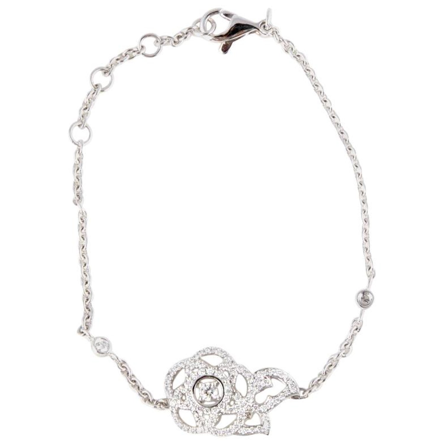 0f5202a056c4c1 CHANEL 18ct white gold and DIAMONDS 'CAMELIA' Bracelet at 1stdibs