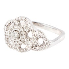 Chanel 18ct white gold & DIAMONDS 'CAMELIA' Ring Size 6.25