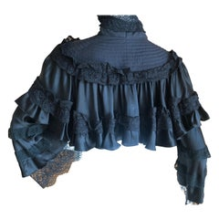 Roberto Cavalli for Just Cavalli Vintage Black Silk Victorian Style Cape Jacket