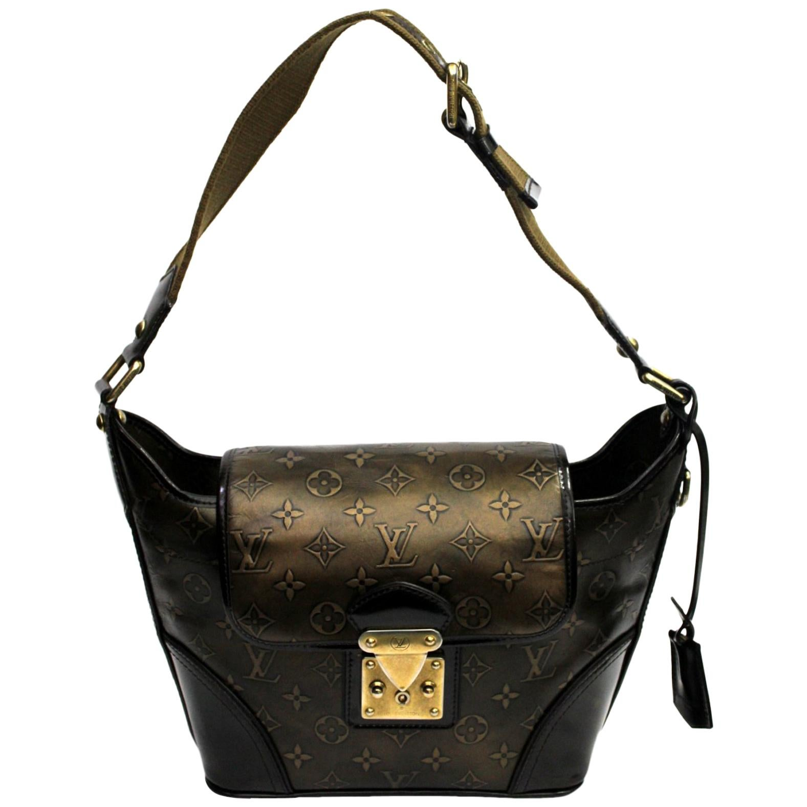LOUIS VUITTON Limited Edition Bronze Monogram Embossed Leather Sergent PM Bag