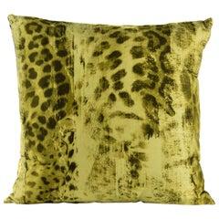 Roberto Cavalli Home Beige Silk Leopard Print Square Cushion