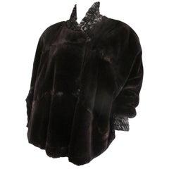 Rare Reversible Sheared Mink Fur Velvet Cape Style Jacket