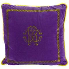 Roberto Cavalli Home Decorative Purple Cotton Square Cushion