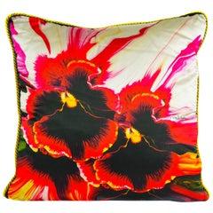 Roberto Cavalli Home Orchid Print Silk Square Decorative Cushion