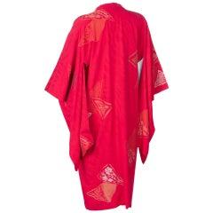 Vintage Japanese Silk Magenta Metallic Michiyuki Kimono Jacket Dress